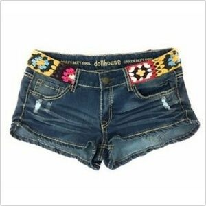 Dollhouse Jean Shorts Crazy Sexy Cool Knitted Belt